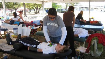Nolan gets a massage
